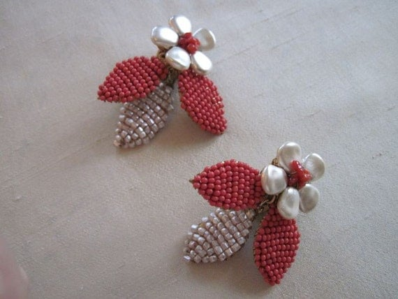 RESERVED FOR MARY:  Miriam Haskell coral and pearl earrings
