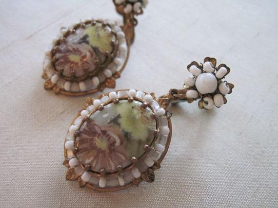 Miriam Haskell handpainted porcelain earrings