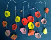Multi coloured handfelted flower necklace