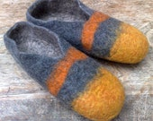 Two tone felted slippers in saffron and grey