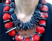 Scarlet cerise  necklace - wet felted in Merino and Tussah silk
