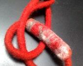 Scarlet  choker - bracelet - necklace - wet felted in Merino with Nuno felt bead