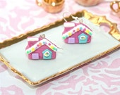 Earrings. Gingerbread Holiday House Christmas. Hand Sculpted in Polymer Clay. Sterling Silver. OOAK by Tuttisweetie on Etsy.