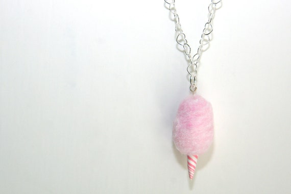 "Necklace. Cotton Candy. Hand Sculpted in Polymer Clay. 18"" Sterling Silver Chain. One of A Kind, OOAK. Handmade by Tuttisweetie on Etsy."