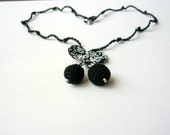 Cherry necklace - fine lacy crochet - black and white -  eco friendly fashion