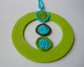 Necklace Cycle Boho Chic -  crochet circles and felt pendant - turquoise blue, bright  green grass, chocolate brown