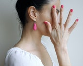 Pink drop earrings - rose crochet cotton and czech glass bead - eco friendly - french hook sterling silver  eco fashion