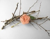 Hair pin spring summer flower and leaf peach pink rose crochet