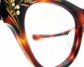 Vintage 50s Frame France Amber Cat Eye Eyeglasses Sunglasses Glasses New