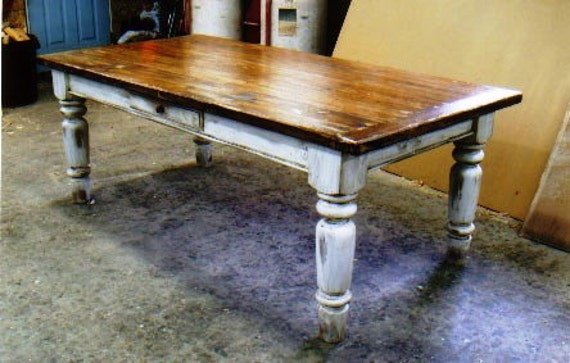 Items Similar To Farmhouse Table In White Scrubbed Pine On Etsy
