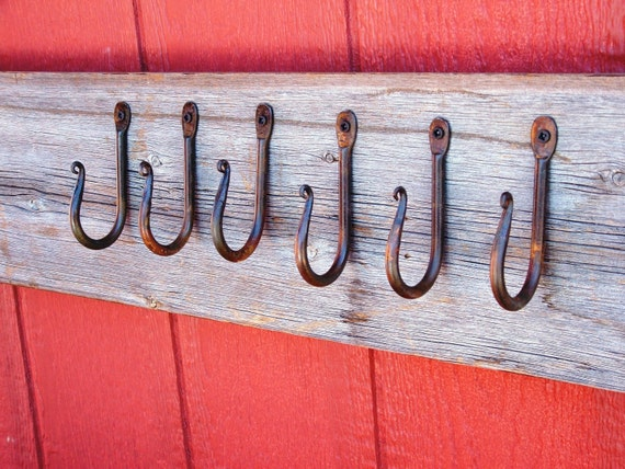 Hand Forged Wall Hooks Rust Finish Set Of 6