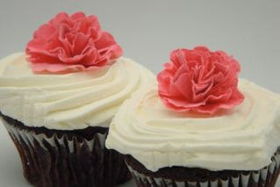 Cupcake Toppers and Cakes, Amazingly Lush Customizable Paper FLowers, 12 for 10.00