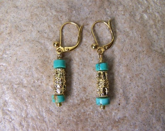 ANCIENT TREASURE - Gold Plated & Turquoise Dangle Earrings - Secure Leverback Wires