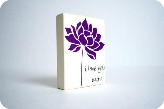 I Love You, Mom. Wood Block Decor.