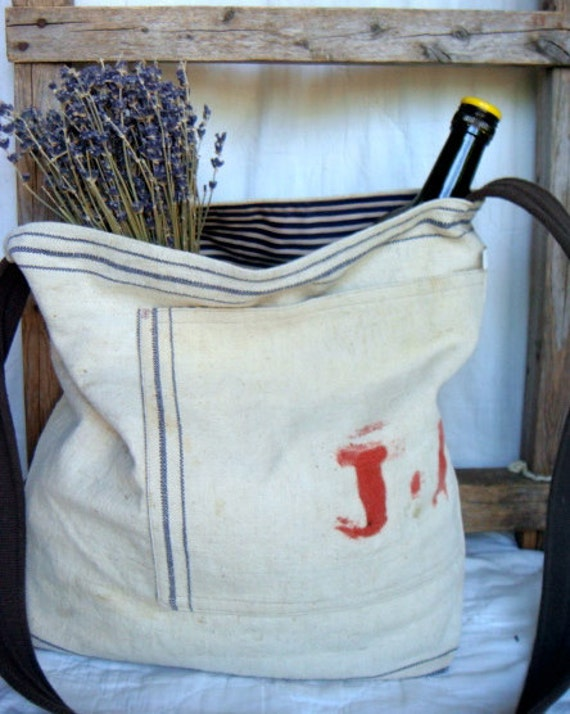 J.R.2 - reconstructed vintage canadian grain sack messenger bag
