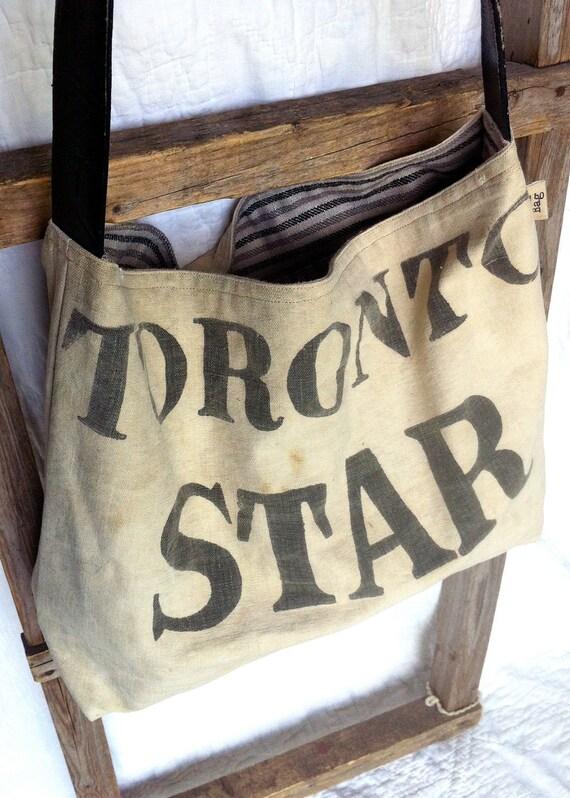 TORONTO STAR - reconstructed vintage toronto star sack messenger bag