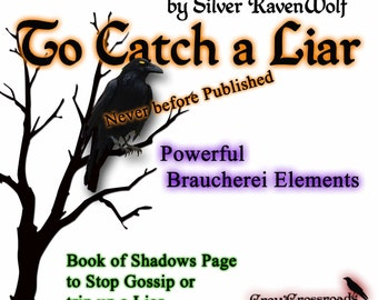 To Catch A Liar/ Stop Gossip Spell, Wicca, Pagan, Braucherei, Book of Shadows Art Page Digital Download