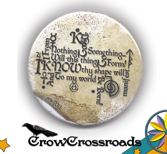 Word Art Manifestation Design for Attraction Magick  2.5 inch Pinback Button/Badge made on the Scorpio Moon