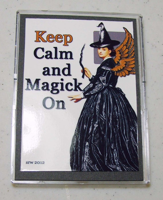 Keep Calm and Magick On Vintage Style ACEO Card Digital Collage Spell Inspirational