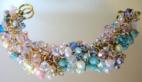 Vintage Charm Bracelet, On  SALE.. Lampwork, Pearls, Beads