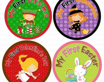 First Holiday Owl GIRL Photo Stickers Monthly Baby Stickers Monthly Bodysuit Month Sticker Baby Month Sticker Holiday Stickers Baby Shower