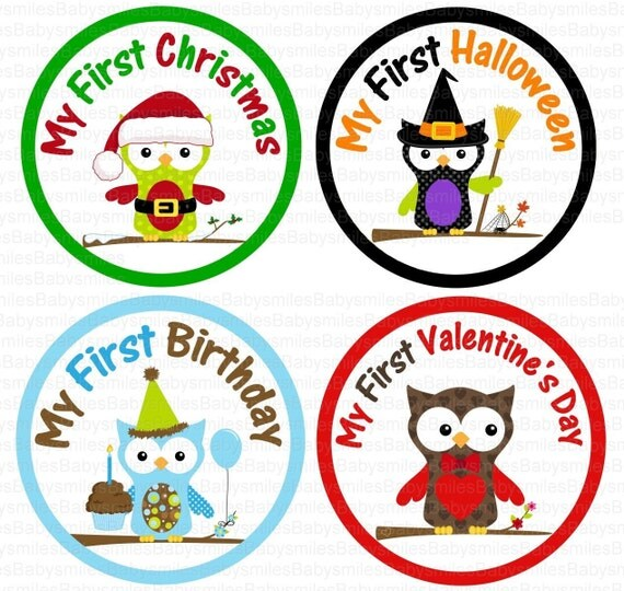 First Holiday Owl BOY Photo Stickers Monthly Baby Stickers Monthly Bodysuit Month Sticker Baby Month Sticker Holiday Stickers Baby Shower