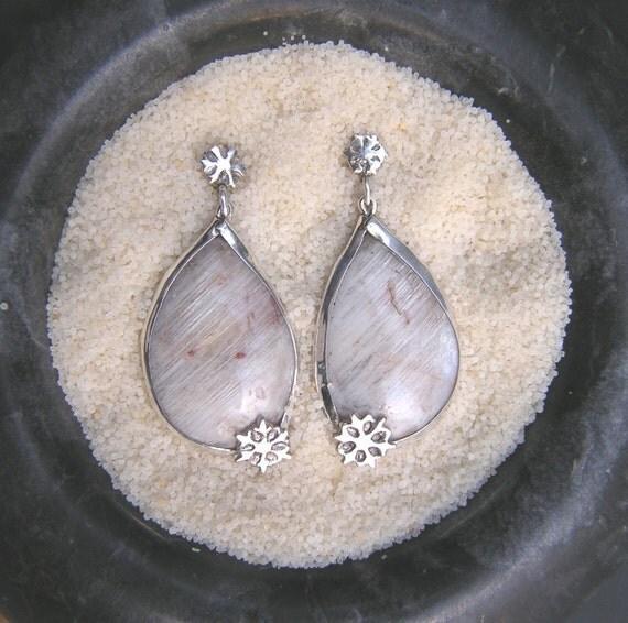 White belomorite moonstone silver earrings with snowflakes