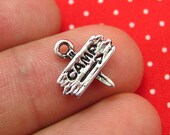 20 pcs Antique Silver Camp Road Sign Charms 13x5mm CH0387