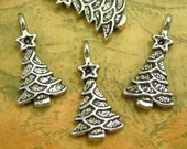 20 pcs Antique Silver Christmas Charms Christmas Tree Charms 15x10mm CH0091