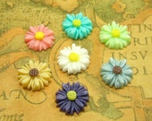 Resin Flower Cabochon, 20 pcs Assorted Color Sunflower Cab 13mm Resin Lucite CH0617