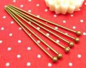 100 pcs Brass Ball Headpins Brass Ball Pins 30mm 21 gauge Nickel Free CH0675