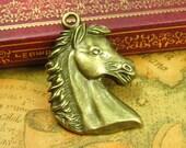 4 pcs Antique Bronze Horse Charms Horse Pendants 41x29mm CH0882
