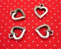 10 pcs Silver Heart Charms 12x12mm CH0112