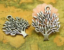 20 pcs Antique Silver Tree Charms 16mm CH0381