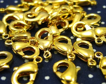 50 pcs Gold Plated Lobster Clasps 12x6mm CH0439