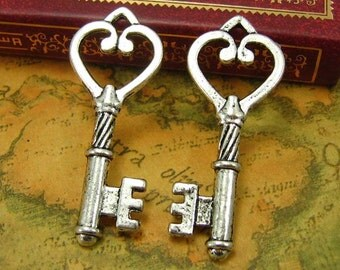 10 pcs Antique Silver Skeleton Key Charms 45x18mm CH0239