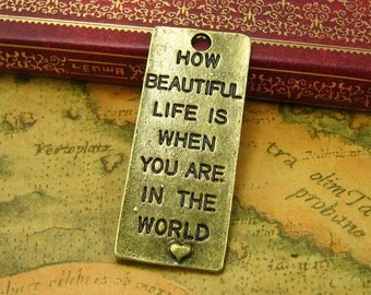 10 pcs Antique Bronze How beautiful life is when you are in the world Charms 52x22mm CH0274