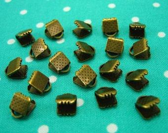 50 pcs Bronze Tone Textured Crimp End for Ribbon 6mm CH0364
