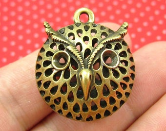 2 pcs Antique Bronze Owl Charms 26mm CH0548