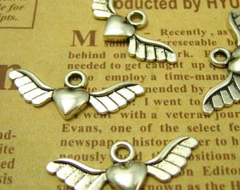 50 pcs Silver Winged Heart Charms Pendants 28x10mm CH0571