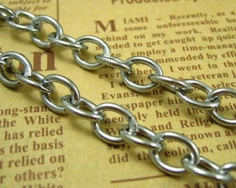 Silver Chain,3 Feet Nickel Free Unfinished Link 9x7mm CH0585