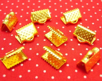 50 pcs Gold Plated Crimp End for Ribbon Clamps 10mm CH0624