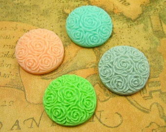 Resin Flower Cabochon, 10 pcs Flat Back Assorted Color Flower Cab 20mm Resin Lucite CH0651