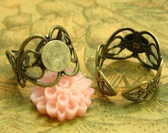 4 Pcs Antique Bronze Adjustable Ring Base Ring Settings with 8mm Pads CH0711
