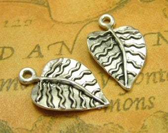20 pcs Antique Silver Leaf Charms 21x13mm CH0723