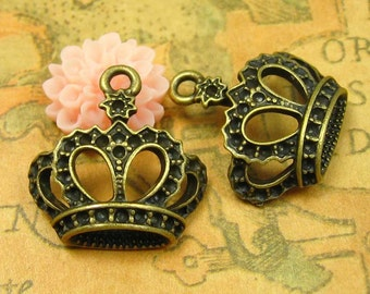 10 pcs Antique Bronze Crown Charms 22x22mm CH0753