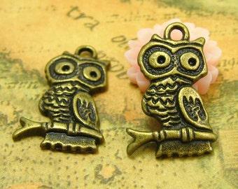 10 pcs Antique Bronze Owl Charms 20x15mm CH0462