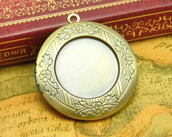 Round Photo Lockets, 2 Pcs Antique Bronze Nickle Free 32x32mm CH0813