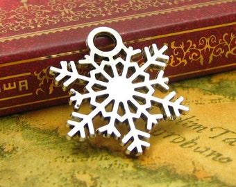 10 pcs Antique Silver Snowflake Charms 27x24mm CH0817