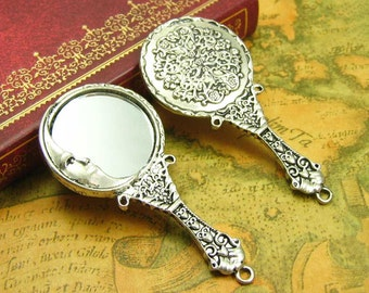 2 pcs Antique Silver Handheld Mirror Charms 62x30mm CH0935